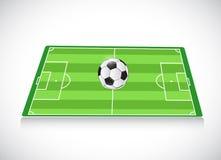 Campo de fútbol y bola Diseño de la ilustración Fotografía de archivo libre de regalías