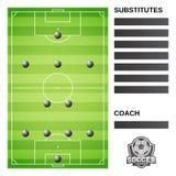 Campo de fútbol y formación del fútbol stock de ilustración