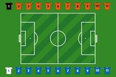 Campo de fútbol y personas stock de ilustración