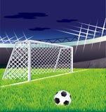 Campo de fútbol y tribunas. Fotos de archivo libres de regalías