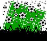 Campo de fútbol y ventiladores en el fondo blanco stock de ilustración