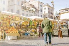 Campo De Fiori jedzenia historyczny rynek w Rzym Obraz Stock