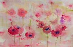 Campo de flor da papoila, pintura da aquarela Fotos de Stock Royalty Free