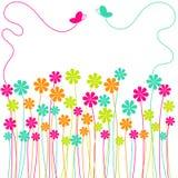 Campo de flores del resorte con las mariposas Imagen de archivo