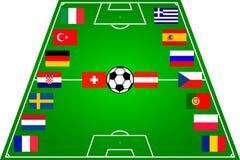 Campo de futebol com 16 bandeiras Imagem de Stock Royalty Free