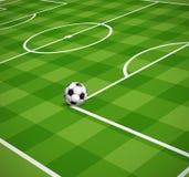 Campo de futebol com a ilustração da bola Imagens de Stock Royalty Free