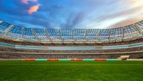 Campo de futebol com luzes e rendição do panorama 3d dos spectors Fotografia de Stock