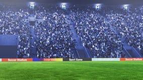 Campo de futebol com luzes e rendição do panorama 3d dos spectors Imagem de Stock Royalty Free