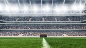 Campo de futebol com luzes e rendição do panorama 3d dos spectors Imagem de Stock