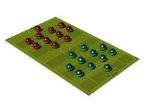 Campo de futebol com o esquema tático. Imagens de Stock Royalty Free