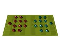 Campo de futebol com o esquema tático. Fotografia de Stock Royalty Free