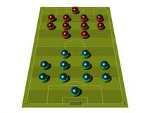 Campo de futebol com o esquema tático. Imagens de Stock