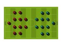 Campo de futebol com o esquema tático. Foto de Stock