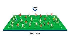campo de futebol 3D isométrico com equipas de futebol Ostente o tema, campo de esportes do futebol, estádio Jogadores de futebol  Foto de Stock