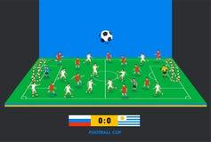 campo de futebol 3D isométrico com equipas de futebol Ostente o tema, campo de esportes do futebol, estádio Jogadores de futebol  Fotos de Stock