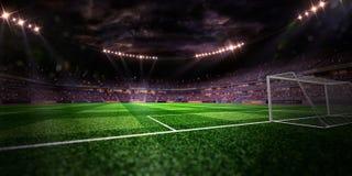 Campo de futebol da arena do estádio da noite ilustração royalty free