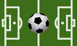 Campo de futebol do vetor com uma bola de futebol Foto de Stock Royalty Free