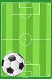 Campo de futebol e ilustração da bola Fotografia de Stock Royalty Free