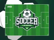 Campo de futebol profissional moderno do futebol da grama do vetor no tema verde Fotos de Stock Royalty Free