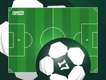 Campo de futebol profissional moderno do futebol da grama do vetor no tema verde Imagens de Stock Royalty Free