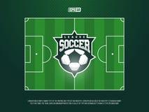 Campo de futebol profissional moderno do futebol da grama do vetor no tema verde Imagem de Stock