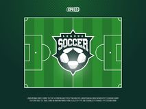 Campo de futebol profissional moderno do futebol da grama do vetor no tema verde Fotografia de Stock