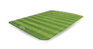 Campo de futebol vazio na perspectiva com aparência 3D no fundo branco Imagens de Stock Royalty Free