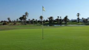 Campo de golf con la bandera almacen de metraje de vídeo