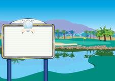 Campo de golf con la cartelera/el marcador stock de ilustración