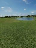 Campo de golf con opiniones del lago Imágenes de archivo libres de regalías