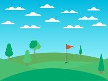 Campo de golf con un agujero y una bandera roja Paisaje con los campos y los árboles verdes Día asoleado Vector ilustración del vector