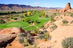 Campo de golf del desierto Fotos de archivo libres de regalías