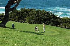Campo de golf del océano Imágenes de archivo libres de regalías