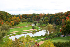 Campo de golf en la caída Fotografía de archivo libre de regalías
