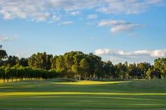 Campo de golf en la tarde Foto de archivo libre de regalías