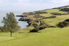 Campo de golf en una costa Fotografía de archivo