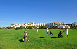 Campo de golf, grupo de golfistas de las mujeres, Andalucía, España Fotos de archivo