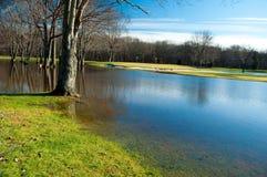 Campo de golf inundado Fotografía de archivo libre de regalías