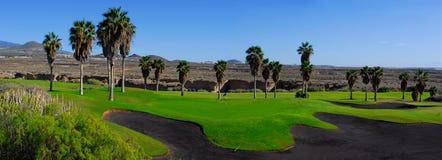 Campo de golf panorámico Imagen de archivo libre de regalías