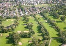 Campo de golf. Visión aérea. Fotografía de archivo