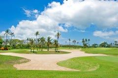 Campo de golfe bonito. palmeiras do anf da armadilha de areia Fotografia de Stock Royalty Free