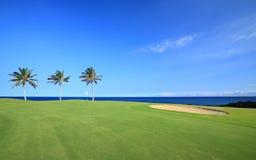 Campo de golfe na costa do oceano Fotos de Stock Royalty Free