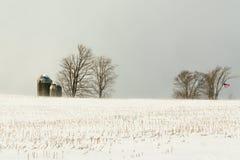Campo de granja americano en nieve Imagenes de archivo
