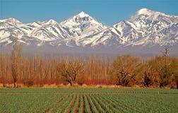 Campo de granja y montañas de los Andes Foto de archivo libre de regalías