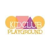 Campo de jogos da terra das crianças e sinal colorido do Promo do clube do entretenimento com formas geométricas para o espaço de Imagem de Stock