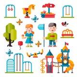 Campo de jogos das crianças no estilo liso Imagem de Stock