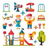 Campo de jogos das crianças no estilo liso Imagens de Stock
