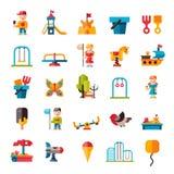 Campo de jogos das crianças no estilo liso Foto de Stock Royalty Free