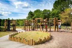 Campo de jogos de madeira ecológico imagem de stock