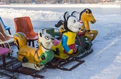 Campo de jogos do inverno do pequeno trenó Fotografia de Stock